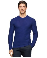 Calvin Klein | Blue Textured Crew-neck Sweater for Men | Lyst