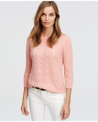 Ann Taylor | Pink Cashmere Cable Sweater | Lyst