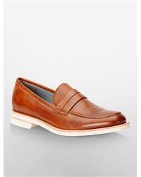 Calvin Klein - Brown White Label Yurik Leather Loafer - Lyst