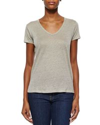 Neiman Marcus - Gray Short-sleeve V-neck Linen Top - Lyst