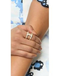 Michael Kors | Metallic Maritime Pave Link Ring - Gold/Clear | Lyst