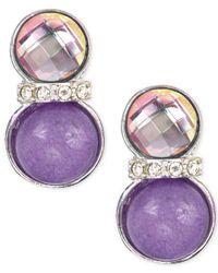 Jones New York | Silver-tone Brass Purple Stone And Epoxy Clip-on Earrings | Lyst