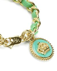 Juicy Couture | Green Status Coin Leather & Chain Bracelet | Lyst