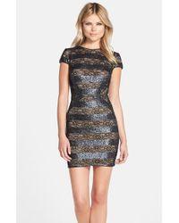 Dress the Population | Black 'Elena' Sequin & Lace Body-Con Dress | Lyst