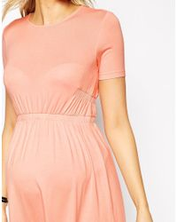 ASOS | Pink Skater Dress With Elasticated Waist | Lyst