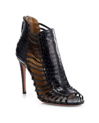 Aquazzura - Black Follow Me Snake-Embossed Leather Sandals - Lyst