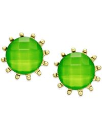 Style & Co. | Style&co. Gold-tone Green Stone Prong Stud Earrings | Lyst