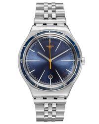 Swatch - Blue Unisex Swiss Star Chief Stainless Steel Bracelet Watch 41mm Yws402g for Men - Lyst
