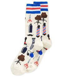 Hot Sox | Natural Barbershop Crew Socks for Men | Lyst