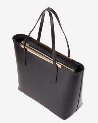 Ted Baker | Black Large Crosshatch Leather Shopper Bag | Lyst