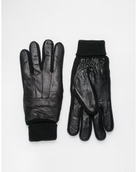 Minimum - Black Leather Gloves - Lyst