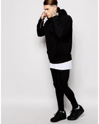 ASOS | Black Oversized Hoodie With Cuff Zips for Men | Lyst