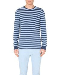 Ralph Lauren | Blue Striped Long-sleeved Cotton Top for Men | Lyst