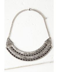 Forever 21 - Metallic Thread-woven Etched Necklace - Lyst