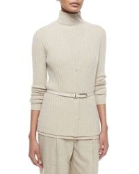Lafayette 148 New York - Natural Ribbed Cashmere V-neck Cardigan - Lyst