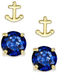 kate spade new york | Blue Gold-tone Glitter And Anchor Stud Earring Set | Lyst