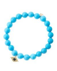 Sydney Evan - Blue 8Mm Turquoise Beaded Bracelet With 14K Yellow Gold/Diamond Small Evil Eye Charm (Made To Order) - Lyst