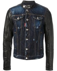 DSquared² | Blue Denim and Leather Jacket for Men | Lyst