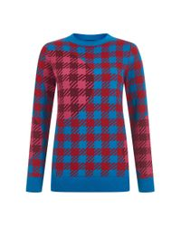 House of Holland - Blue Gingham Jumper - Lyst
