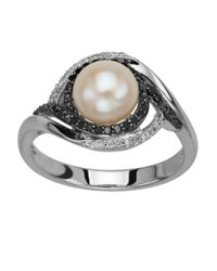 Lord & Taylor | White Sterling Silver Pearl And Black Diamond Ring | Lyst