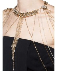 Erickson Beamon | Metallic Crystal Faux Pearl Necklace Bodypiece | Lyst