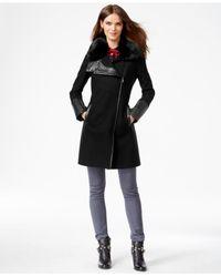 RACHEL Rachel Roy | Black Faux-fur-trim Asymmetrical Walker Coat | Lyst