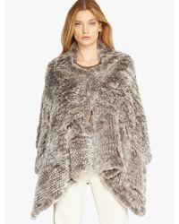 Halston | Gray Convertible Fur Poncho | Lyst