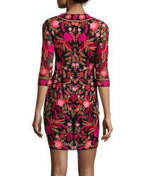 Naeem Khan - Embroidered 3/4-sleeve Cocktail Dress - Lyst