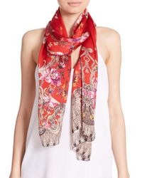 Roberto Cavalli | Brown Ducale Printed Scarf W/leather Fringe | Lyst