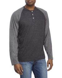 Izod | Black Crew Neck Jersey Henley for Men | Lyst