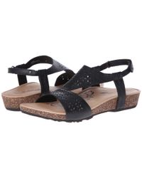 Aetrex | Black Sandalista™ Melanie Adjustable Quarter Strap | Lyst