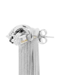 Iosselliani - Metallic Perforated Cheetah Head Crystal Fringe Earrings - Lyst