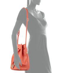 Halston - Pink Drawstring Leather Bucket Bag - Lyst