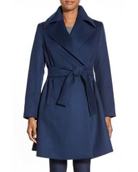 Trina Turk | Blue 'violet' Wool Blend Wrap Coat | Lyst