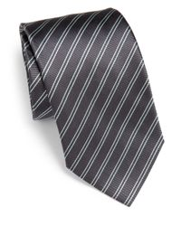 Armani | Gray Striped Silk Tie for Men | Lyst