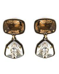 Lanvin | Metallic Crystal Stone Clip-on Earrings | Lyst