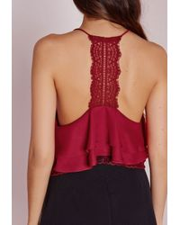 Missguided | Purple Lace Back Double Layer Cami Wine | Lyst