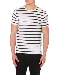 Ben Sherman - White Breton Stripe Crew Neck Regular Fit T-shirt for Men - Lyst