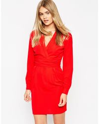 ASOS | Tulip Dress With Wrap Belt - Red | Lyst