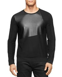 Calvin Klein | Gray Faux Leather Long Sleeve Tee for Men | Lyst