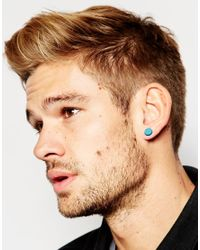 ASOS - Blue Stone Look Plug Earrings In Turquoise for Men - Lyst