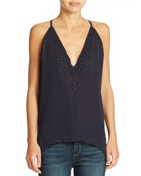 French Connection   Blue Beaded V Neck Tank   Lyst