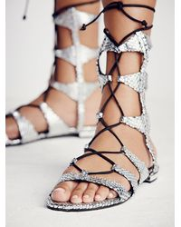 Free People | Metallic Lina Lace Up Gladiator Sandals | Lyst