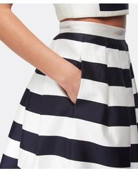 Tibi Natural Escalante Striped Full Satin Skirt