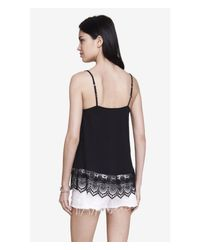 Express | Black Crochet Trimmed Trapeze Cami | Lyst