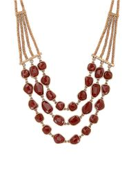 Lucky Brand | Metallic Faux Carnelian Collar Necklace | Lyst