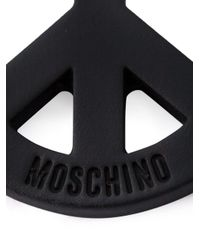 Moschino | Black Peace Sign Clip-on Earrings | Lyst