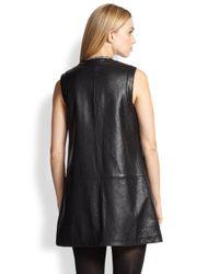 Saint Laurent - Black Leather Gilet - Lyst