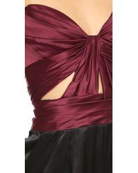J. Mendel - Purple Strapless Bustier Jumpsuit - Garnet/noir - Lyst