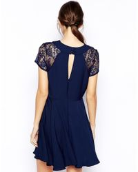 Love - Blue Skater Dress With Lace Insert Sleeve - Lyst